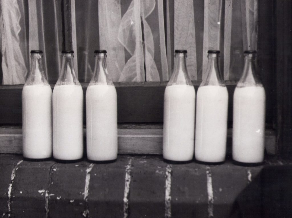Imagem mostra seis garrafas de vidro cheias de leite.